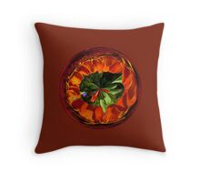 Flower in the globe yellow and red Throw Pillow