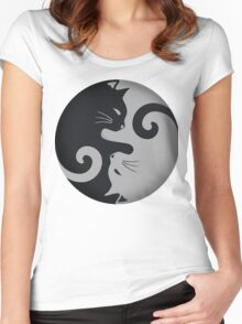 Ying Yang Cats - Black and grey Women's Fitted Scoop T-Shirt