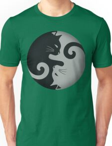 Ying Yang Cats - Black and grey Unisex T-Shirt