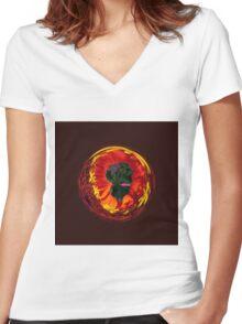 Flower in the globe Women's Fitted V-Neck T-Shirt