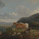 George Barret RA, ca. , British Title Morning Landscape with Mares and Sheep by MotionAge Media