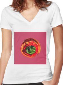 Red flower in glass globe Women's Fitted V-Neck T-Shirt