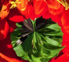 Red flower in glass globe Sticker