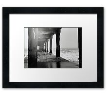 Manhattan Beach Pier, Black and White Film Photography  Framed Print