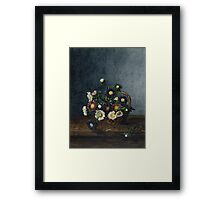 Leon Bonvin - Basket Of Asters. Still life with flowers: flowers, blossom, nature, Asters, floral flora, wonderful flower, plants, cute plant for kitchen interior, garden, vase Framed Print