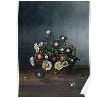 Leon Bonvin - Basket Of Asters. Still life with flowers: flowers, blossom, nature, Asters, floral flora, wonderful flower, plants, cute plant for kitchen interior, garden, vase Poster