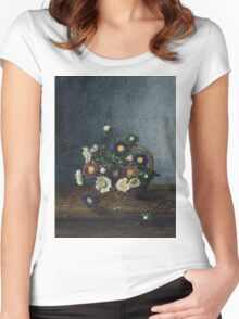 Leon Bonvin - Basket Of Asters. Still life with flowers: flowers, blossom, nature, Asters, floral flora, wonderful flower, plants, cute plant for kitchen interior, garden, vase Women's Fitted Scoop T-Shirt