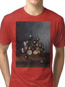 Leon Bonvin - Basket Of Asters. Still life with flowers: flowers, blossom, nature, Asters, floral flora, wonderful flower, plants, cute plant for kitchen interior, garden, vase Tri-blend T-Shirt