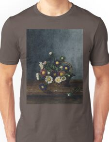 Leon Bonvin - Basket Of Asters. Still life with flowers: flowers, blossom, nature, Asters, floral flora, wonderful flower, plants, cute plant for kitchen interior, garden, vase Unisex T-Shirt