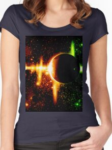 Retro space background Women's Fitted Scoop T-Shirt