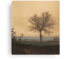 Leon Bonvin - Landscape With A Bare Tree And A Plowman 1864. Country landscape:  tree, village view, plowman, sky, rustic, fog, field, countryside road, trees, garden, flowers Canvas Print