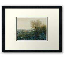 Leon Bonvin - Landscape With A Farmhouse And A Peasant Wheeling A Barrow 1865. Country landscape: village view, country, plowman, sky, rustic, fog, field, countryside road, trees, garden, flowers Framed Print