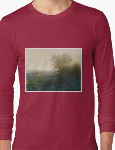 Leon Bonvin - Landscape With A Farmhouse And A Peasant Wheeling A Barrow 1865. Country landscape: village view, country, plowman, sky, rustic, fog, field, countryside road, trees, garden, flowers Long Sleeve T-Shirt