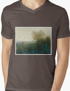 Leon Bonvin - Landscape With A Farmhouse And A Peasant Wheeling A Barrow 1865. Country landscape: village view, country, plowman, sky, rustic, fog, field, countryside road, trees, garden, flowers Mens V-Neck T-Shirt