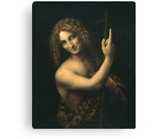 Leonardo Da Vinci - St. John The Baptist. Man portrait: strong man, boy, male, smile,  italian, masculine, boyfriend, smile, florence, sexy men, mustache Canvas Print