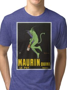 Leonetto Cappiello - Maurin Quina. Man portrait: green devil,  devil, absinthe, beard, alcohol, bottle , boyfriend, smile, manly, sexy men, mustache Tri-blend T-Shirt