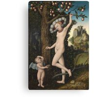 Lucas Cranach The Elder - Cupid Complaining To Venus. Woman portrait: sensual woman, greek, female style, pretty women, femine, beautiful dress, nude,  mythology, love, sexy lady, erotic pose Canvas Print