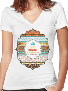 Native american seamless tribal pattern with geometric elements Women's Fitted V-Neck T-Shirt