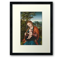 Lucas Cranach The Elder - Madonna And Child In A Landscape 1518. Mother with kid portrait: madonna, Madonna And Child, female, pretty angel, child, Eden, tree, mothers day, memory, mom mum mam, baby Framed Print