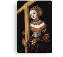 Lucas Cranach The Elder - Saint Helena With The Cross 1525. Woman portrait: Saint Helena, Saint,  Helena,  lady, femine, beautiful dress, jewelry, HEADDRESS, Eden,  saint,  Cross Canvas Print