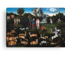 Lucas Cranach The Elder - The Garden Of Eden 1530. People portrait: adam and eve, woman and man, people, eve adam , garden of eden, nude, elder, APPLE, tree, valentine's day, temptation Canvas Print