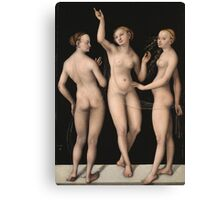 Lucas Cranach The Elder - The Three Graces 1535. Woman portrait: the three graces,  nude, grace, nudity, femine, feminine,  sensual,  beautiful, erotica, sexy lady, temptation Canvas Print