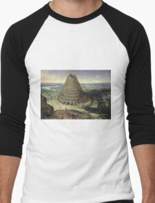 Lucas van Valckenborch - The Tower Of Babel. building landscape: city view, spiral, tower, tower of babel,  babel,  mythology, architecture, construction, gardens, panorama garden, buildings Men's Baseball ¾ T-Shirt