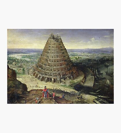 Lucas van Valckenborch - The Tower Of Babel. building landscape: city view, spiral, tower, tower of babel,  babel,  mythology, architecture, construction, gardens, panorama garden, buildings Photographic Print