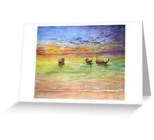 Boats, by Paul Sagoo Greeting Card