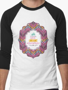 Navajo colorful  tribal pattern with geometric elements Men's Baseball ¾ T-Shirt