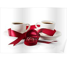 Wedding still life, two cups of coffee with ribbons Poster