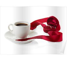 Wedding still life, wedding rings, cups of coffee Poster