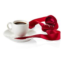 Wedding still life, wedding rings, cups of coffee Photographic Print