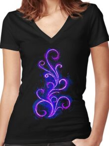 Dark Abstract Women's Fitted V-Neck T-Shirt