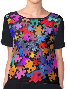 """Jigsaw Pieces"" graphic art Chiffon Top"