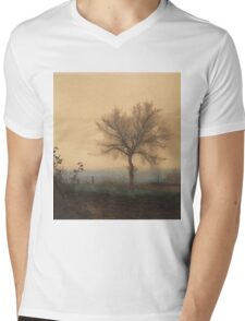 Leon Bonvin - Landscape With A Bare Tree And A Plowman 1864. Country landscape:  tree, village view, plowman, sky, rustic, fog, field, countryside road, trees, garden, flowers Mens V-Neck T-Shirt
