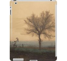 Leon Bonvin - Landscape With A Bare Tree And A Plowman 1864. Country landscape:  tree, village view, plowman, sky, rustic, fog, field, countryside road, trees, garden, flowers iPad Case/Skin
