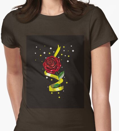 Beauty and the Beast Illustration Womens Fitted T-Shirt