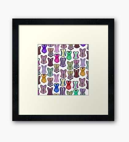 Retro Sexy Colorful Girly Corsets Pattern Framed Print