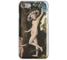 Lucas Cranach The Elder - Cupid Complaining To Venus. Woman portrait: sensual woman, greek, female style, pretty women, femine, beautiful dress, nude,  mythology, love, sexy lady, erotic pose iPhone Case/Skin