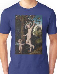 Lucas Cranach The Elder - Cupid Complaining To Venus. Woman portrait: sensual woman, greek, female style, pretty women, femine, beautiful dress, nude,  mythology, love, sexy lady, erotic pose Unisex T-Shirt