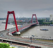 A red bridge in Rotterdam by Thea 65