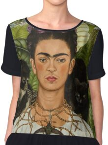 Self-Portrait with Thorn Necklace and Hummingbird  by Frida Kahlo Chiffon Top
