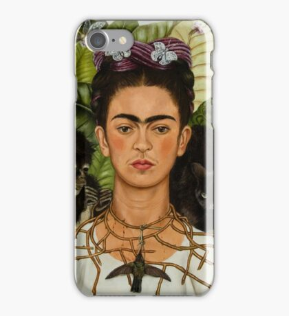 Self-Portrait with Thorn Necklace and Hummingbird  by Frida Kahlo iPhone Case/Skin