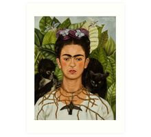 Self-Portrait with Thorn Necklace and Hummingbird  by Frida Kahlo Art Print