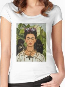 Self-Portrait with Thorn Necklace and Hummingbird  by Frida Kahlo Women's Fitted Scoop T-Shirt