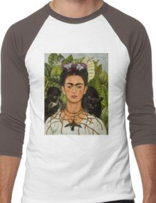 Self-Portrait with Thorn Necklace and Hummingbird  by Frida Kahlo Men's Baseball ¾ T-Shirt