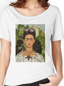 Self-Portrait with Thorn Necklace and Hummingbird  by Frida Kahlo Women's Relaxed Fit T-Shirt