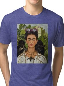 Self-Portrait with Thorn Necklace and Hummingbird  by Frida Kahlo Tri-blend T-Shirt