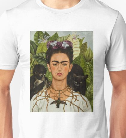 Self-Portrait with Thorn Necklace and Hummingbird  by Frida Kahlo Unisex T-Shirt